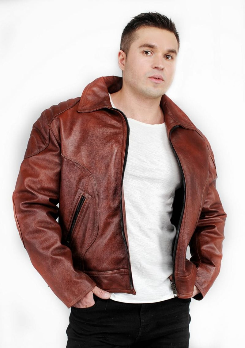 кожаная мужская куртка коричневая фото Alberto.ru