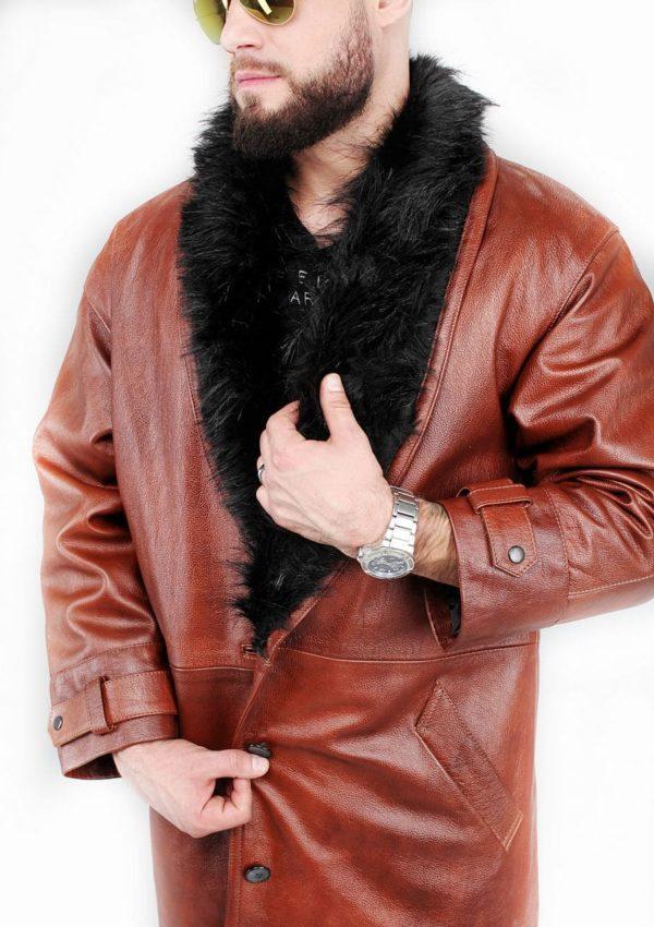 мужской кожаный плащ стильный фото