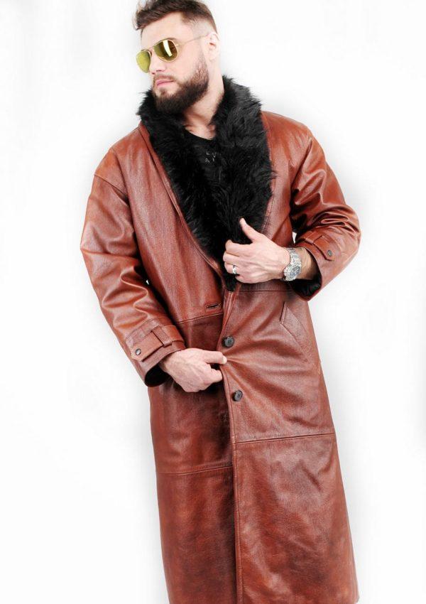 мужской кожаный плащ с мехом 2021