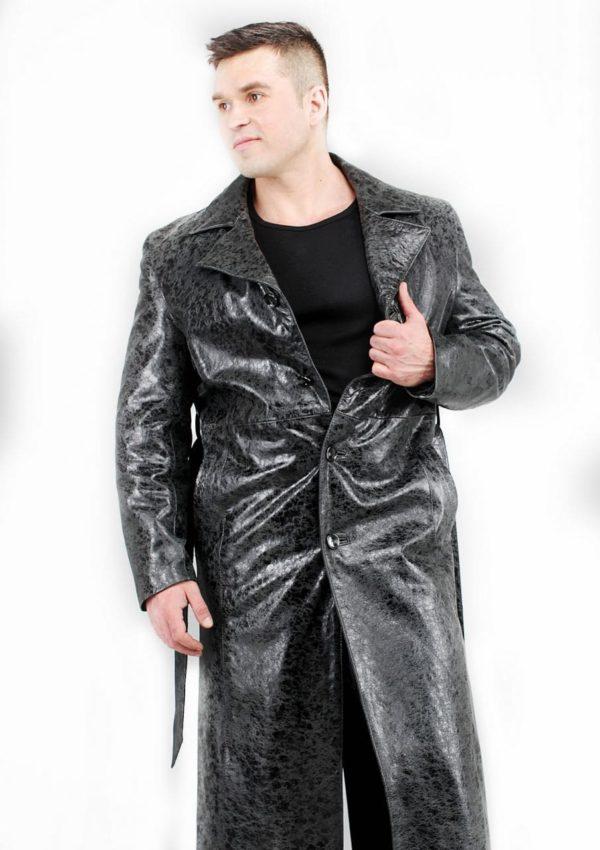 мужской кожаный плащ искусственное старение Alberto.ru