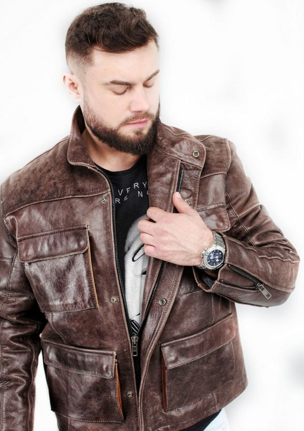 кожаная куртка мужская с накладными карманами фото Alberto.ru
