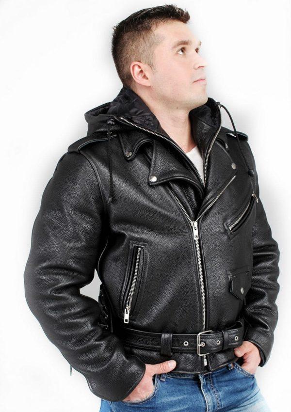 мужская кожаная косуха с капюшоном фото Alberto.ru