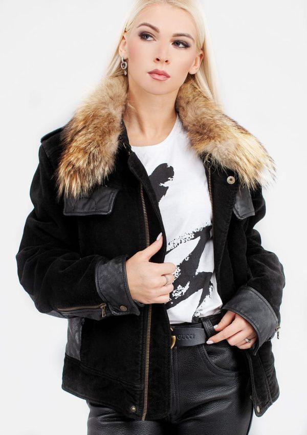модная женская кожаная куртка зима