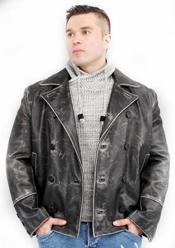 мужской кожаный бушлат черный фото