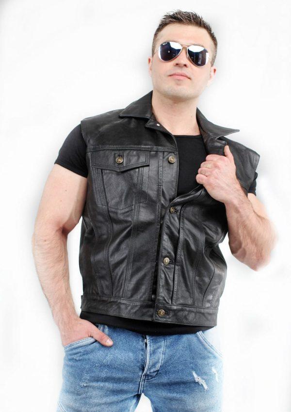кожаный жилет мужской черный Alberto.ru