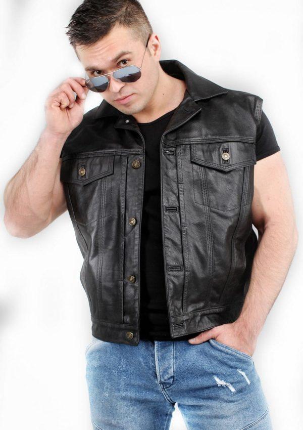 байкерский кожаный жилет фото Alberto.ru