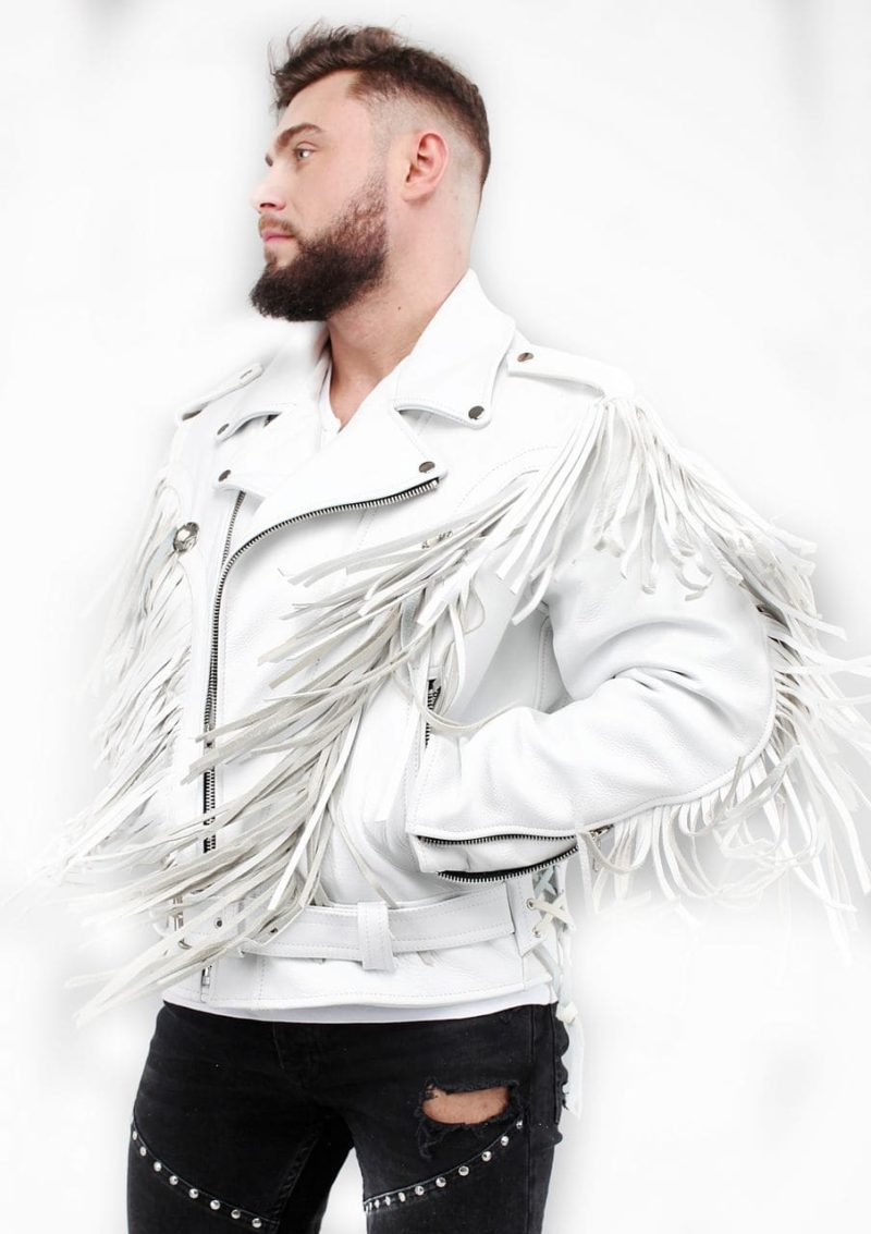 белая кожаная косуха с лапшой мужская