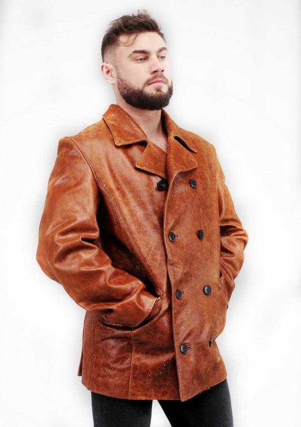 мужской кожаный пиджак коричневый фото Alberto.ru