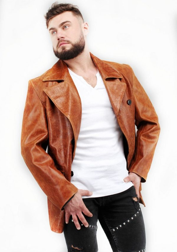 мужской кожаный пиджак рыжий весна Alberto.ru