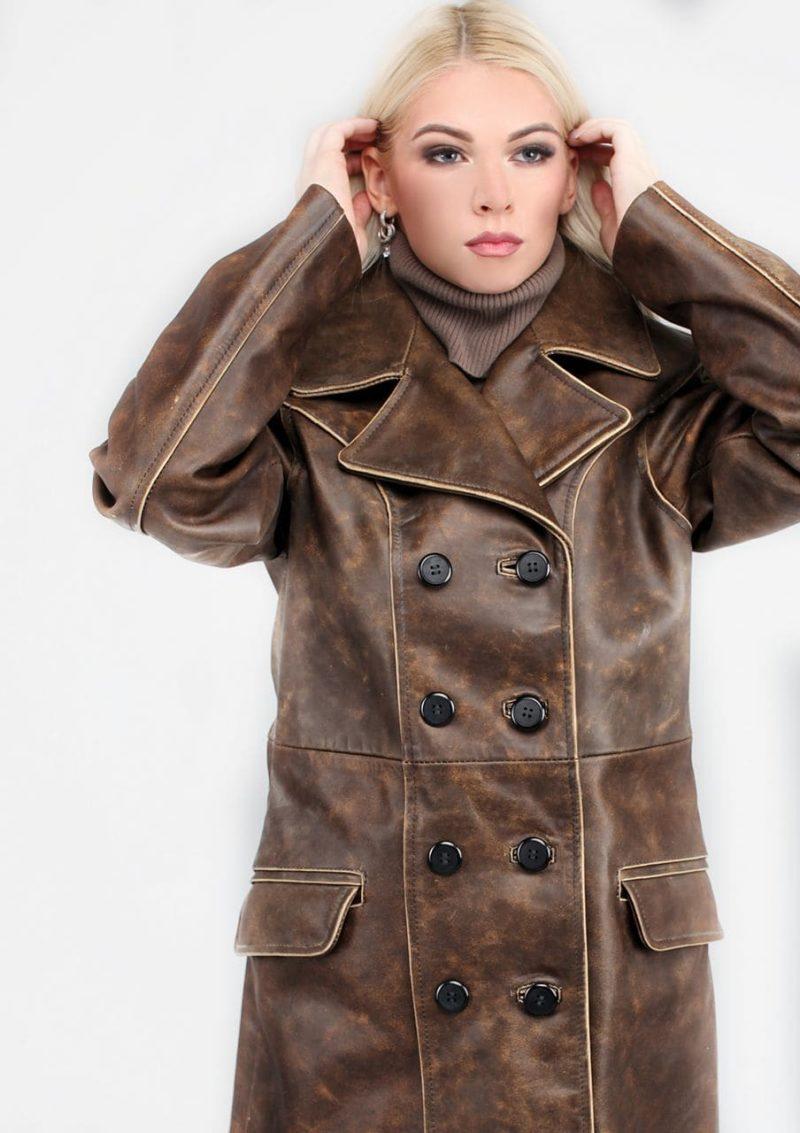 женский кожаный пиджак двубортный осень весна Alberto.ru