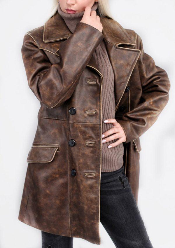 женский кожаный пиджак коричневый Alberto.ru
