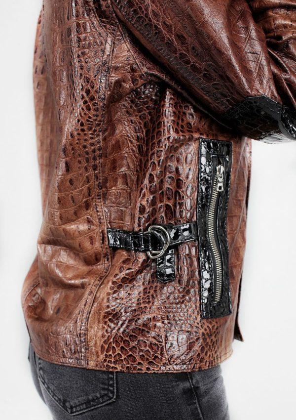 премиум куртка кожаная женская под крокодила Alberto.ru