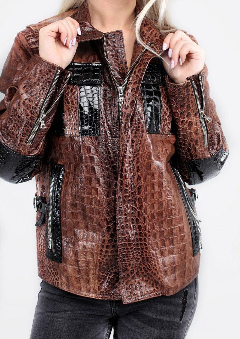 женская кожаная куртка эксклюзив под крокодила Alberto.ru