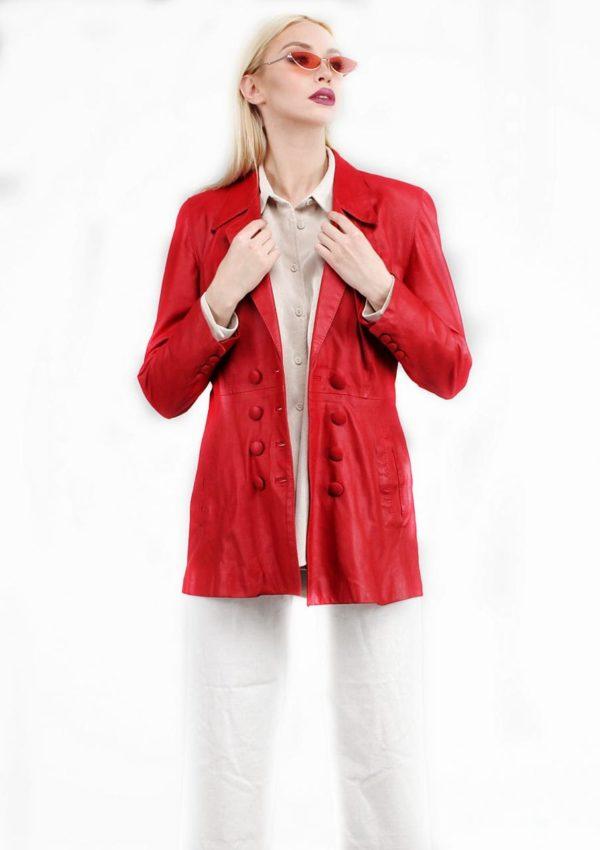 женский кожаный пиджак красный фото Alberto.ru