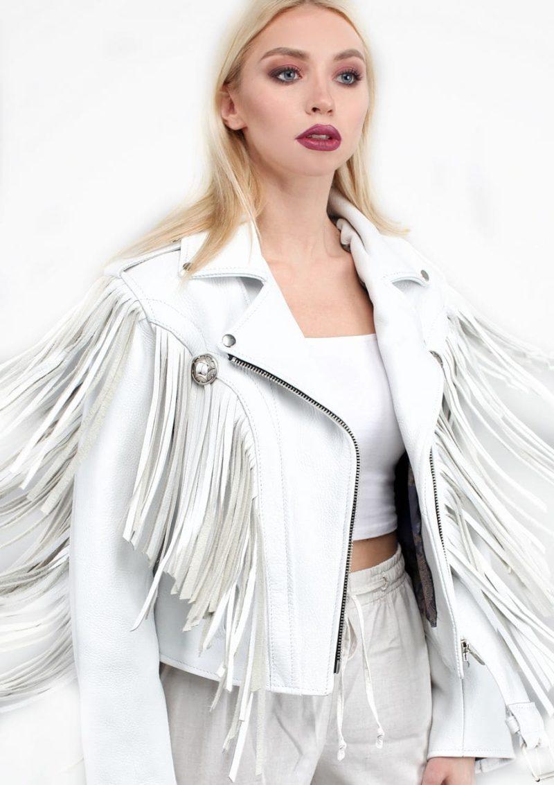 белая женская косуха с бахромой Alberto.ru