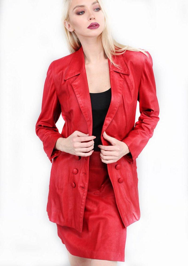 женский кожаный костюм с юбкой Alberto.ru
