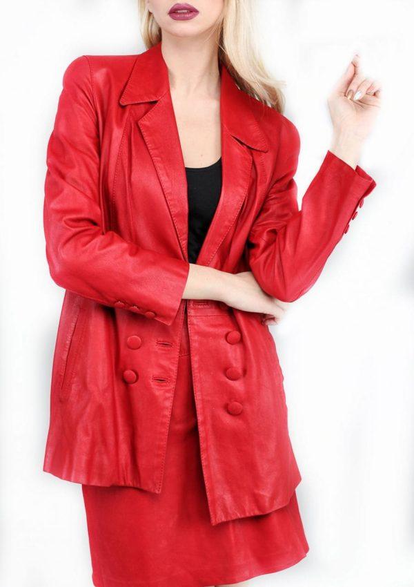 красный женский кожаный пиджак и юбка Alberto.ru