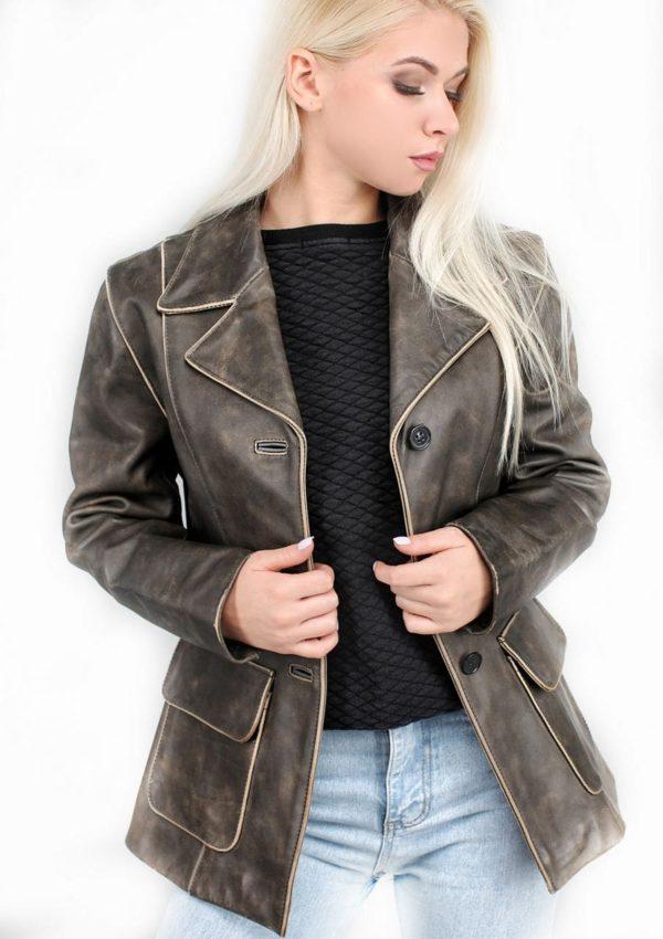 кожаный пиджак женский классический Alberto.ru