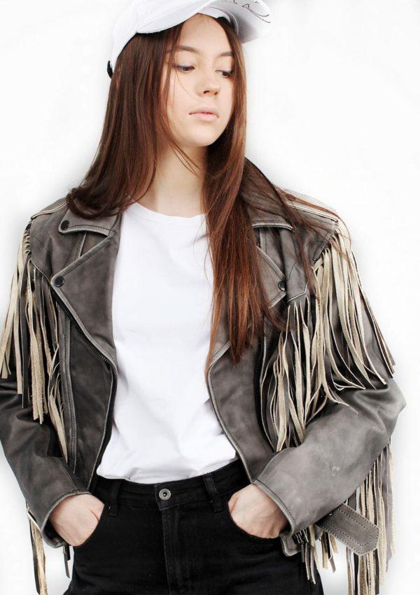 женская косуха с бахромой фотоAlberto.ru