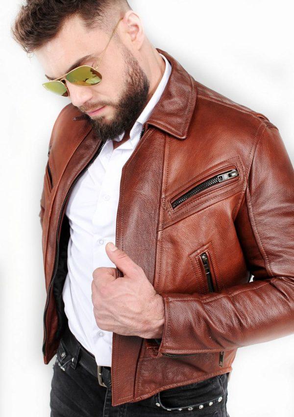 стильная кожаная куртка мотокуртка короткая Alberto.ru