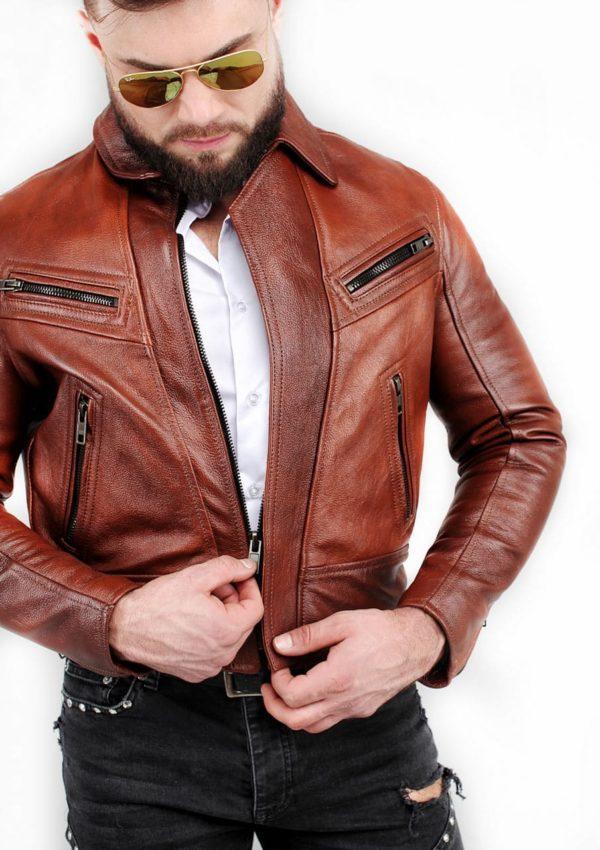 кожаная мотокуртка натуральная кожа коричневая Alberto.ru
