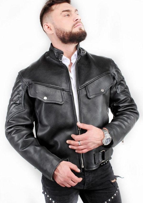 кожаная мужская мотокуртка с отстрочкой