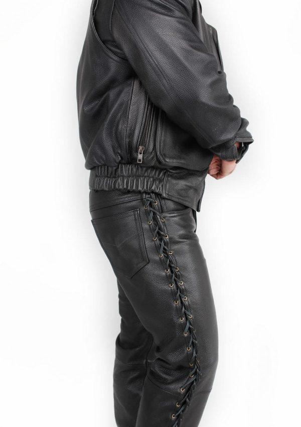кожаные штаны мужские на шнуровке