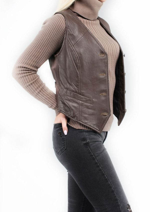 кожаный женский жилет классический