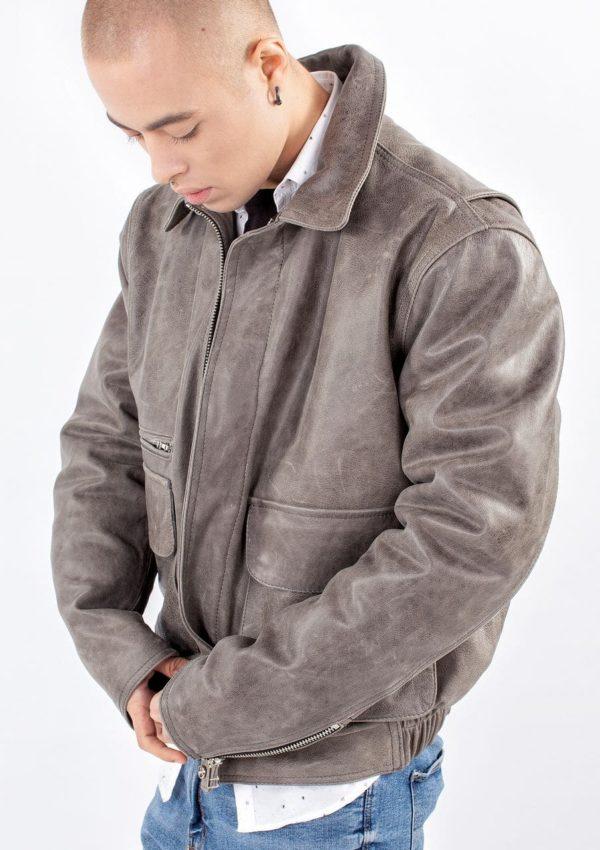 мужская серая куртка натуральная кожа