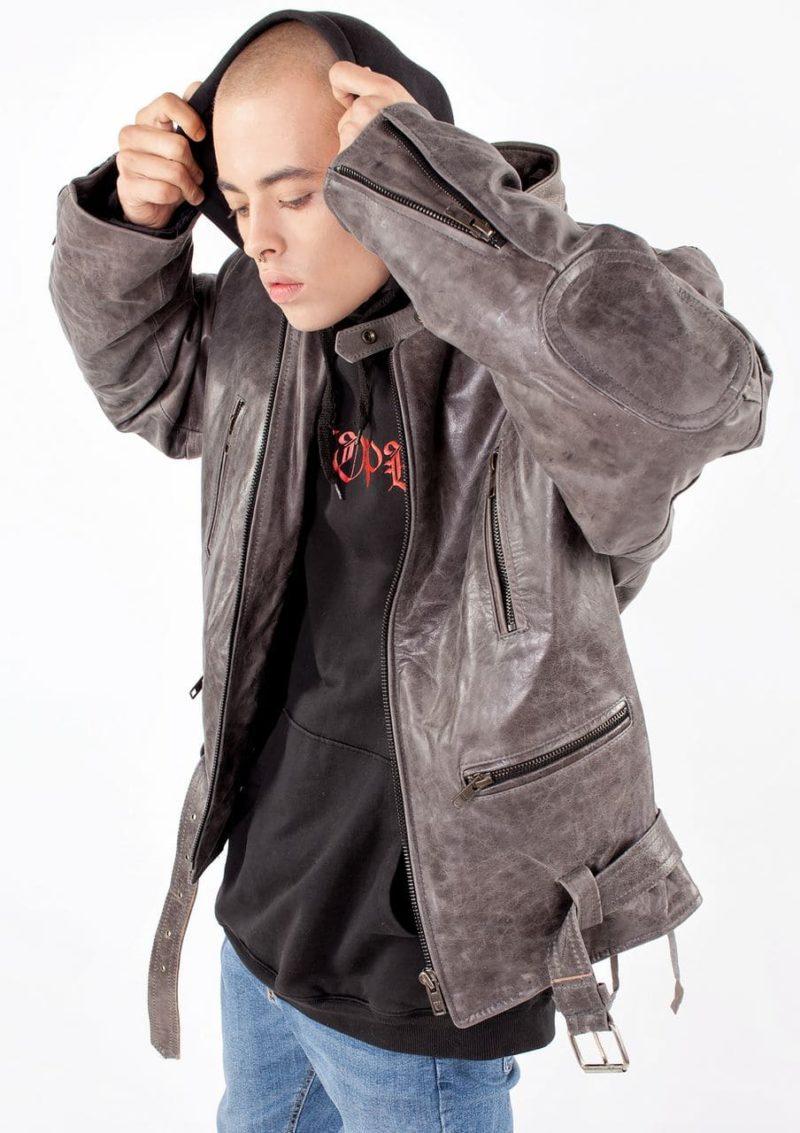 мужская кожаная куртка серая