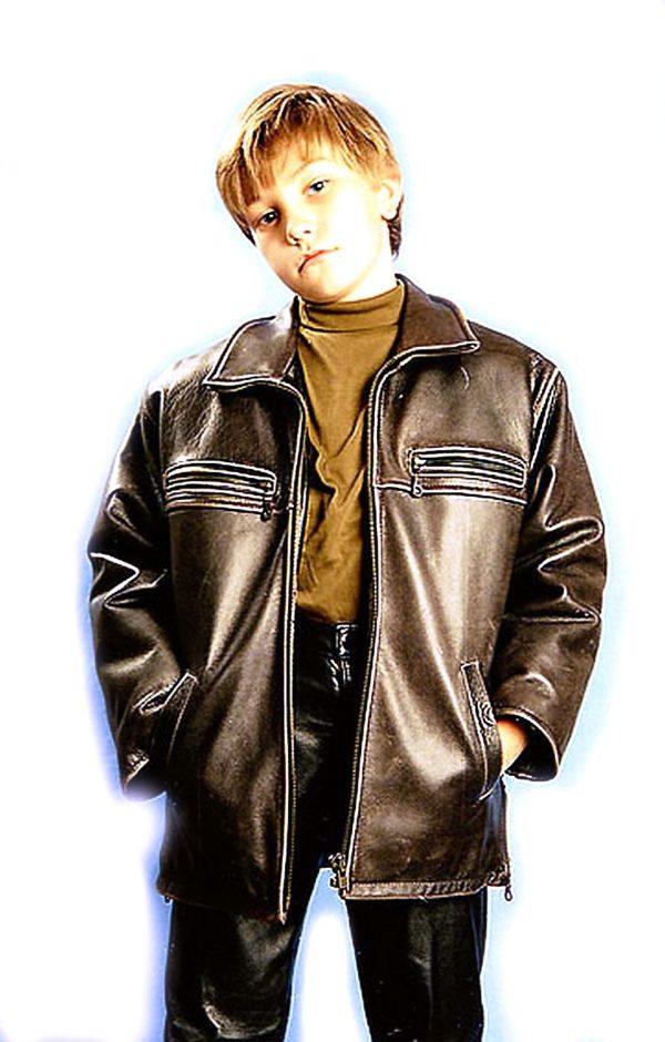 черная кожаная куртка для мальчиков Alberto.ru