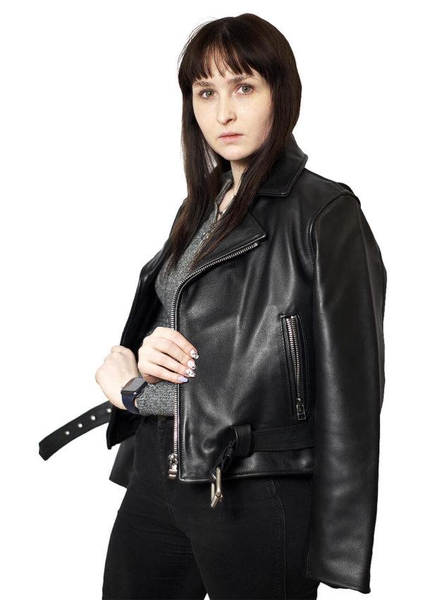 женская кожаная куртка косуха натуральная кожа