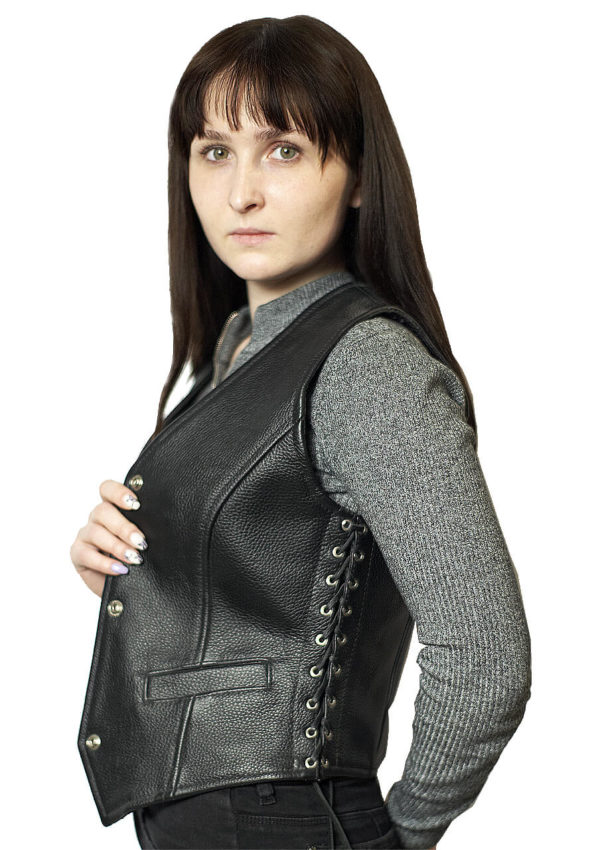 коротких женский кожаный жилет со шнуровкой фото Alberto.ru