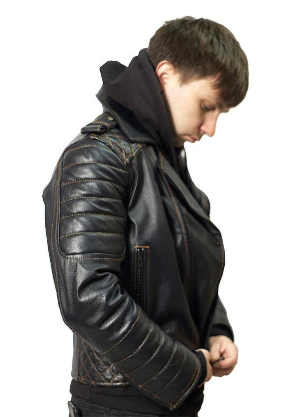 мужская кожаная мотокуртка с усилением Alberto.ru
