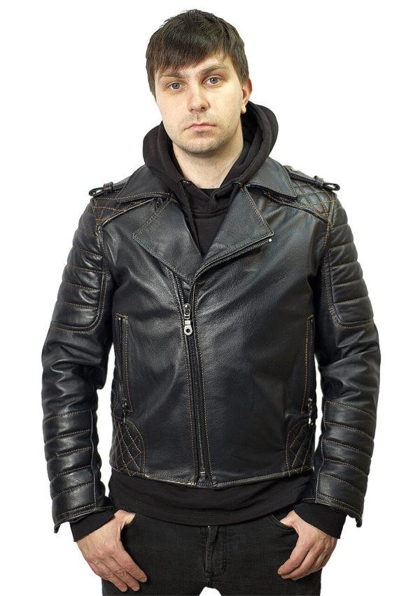 кожаная мужская мотокуртка косуха с контрастной отстрочкой Alberto.ru