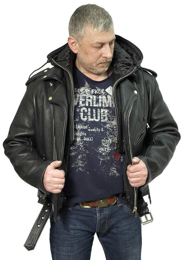 кожаная мотокуртка с капюшоном фото Alberto.ru