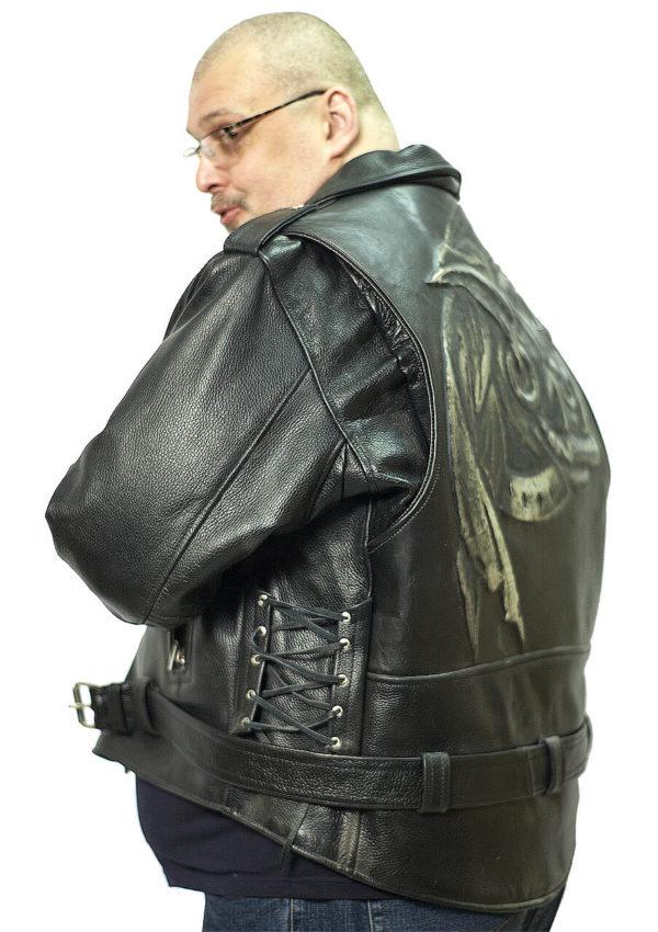 байкерская кожаная косуха с тиснением большие размеры Alberto.ru