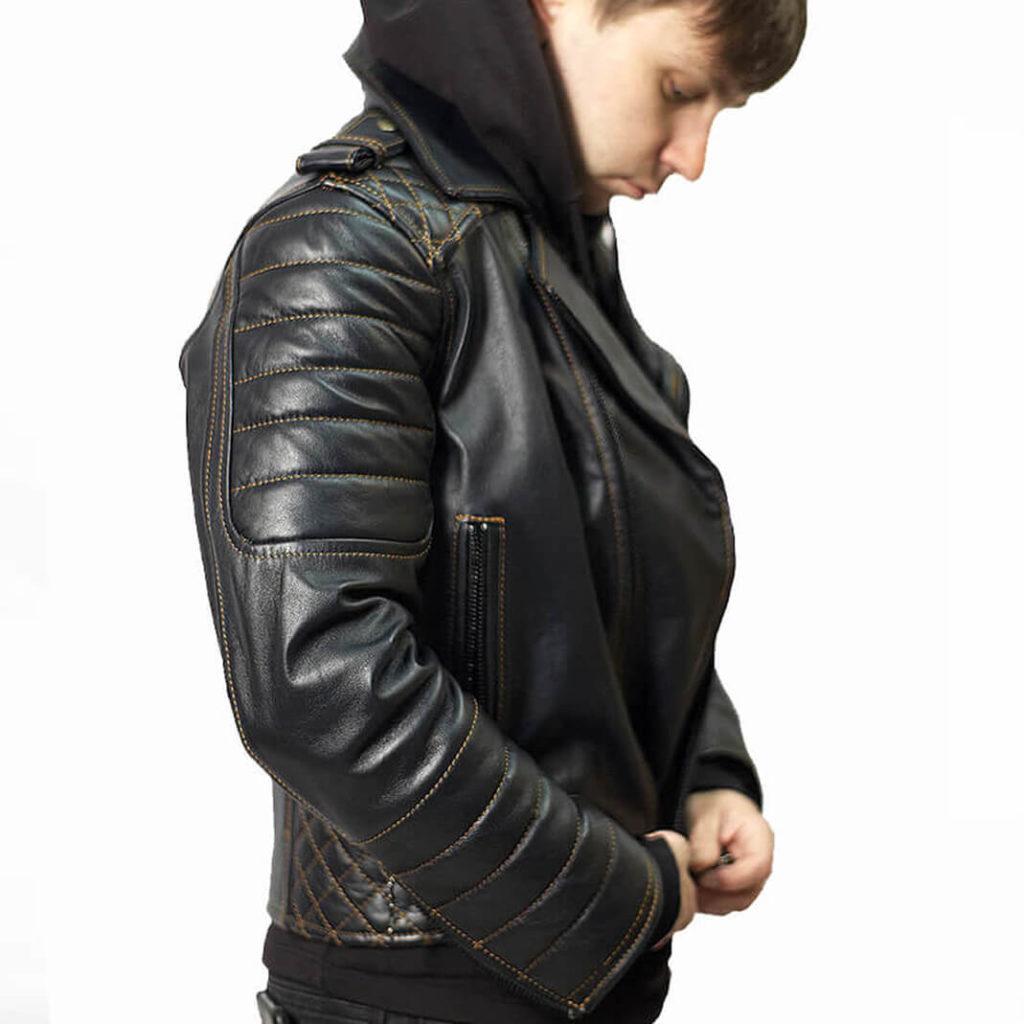 кожаная мотокуртка с усилением на плечах Alberto.ru