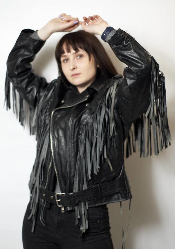 кожаная женская мотокуртка с бахромой Alberto.ru